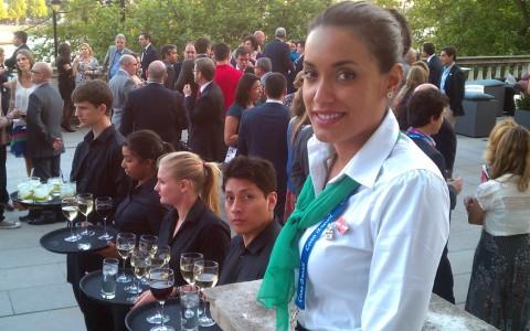 Jamara beautifully hosting with catering staff